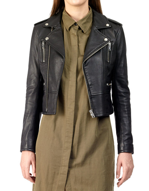BIRDY - Cropped Leather Biker Jacket - ANGRY LANE