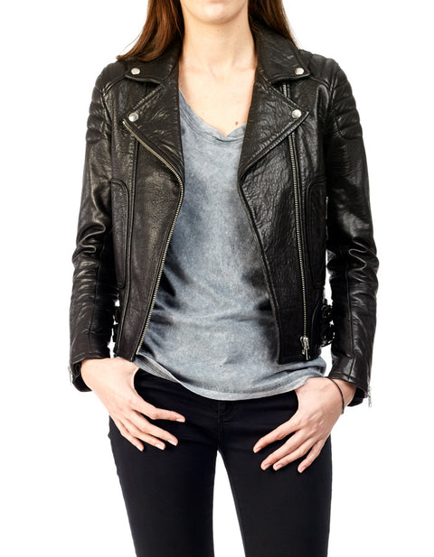 MAX - Textured-Leather Biker Jacket - ANGRY LANE