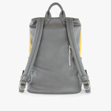 back exterior grey vegan leather, grey handle and straps