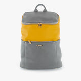 front exterior grey and yellow vegan leather, gold hardware