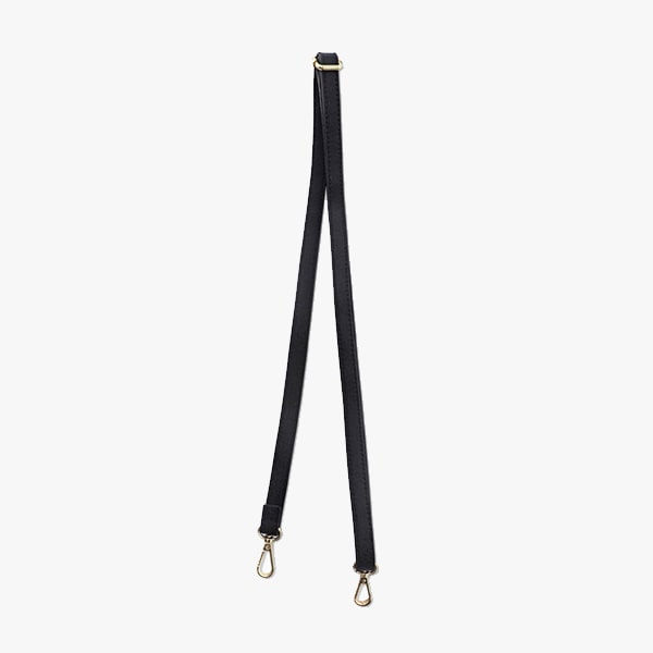 Black long strap from Kanevas' flap bag collection; genuine leather