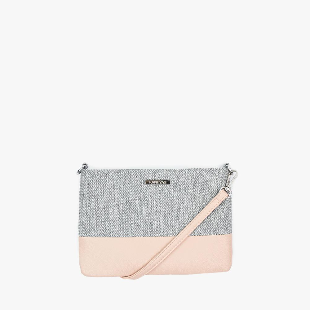 Chloe clutch from Kanevas, with long adjustable strap; grey herringbones cotton and light pink vegan leather