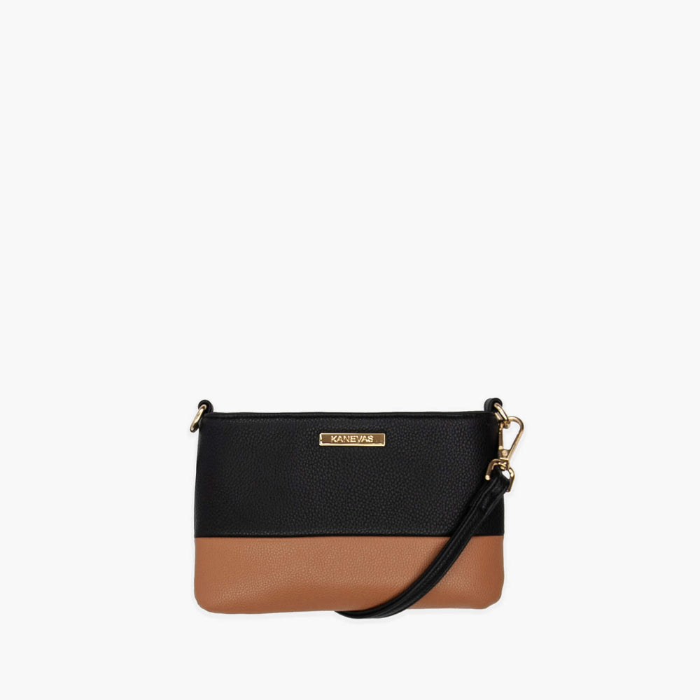 Chloe mini from Kanevas ; vegan leather ; black and brown; gold hardware