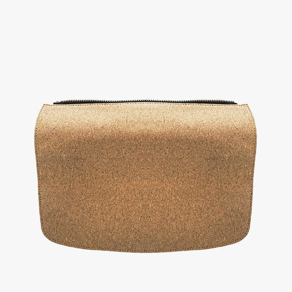 Cork flap from Kanevas' flap bag collection; removable and interchangeable; cork imitation