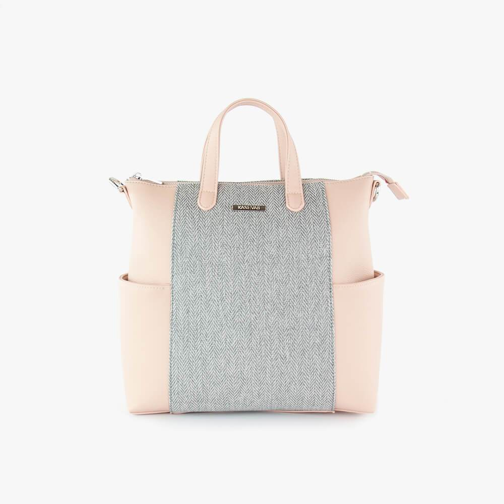 Convertible Emilie backpack from Kanevas; can be worn as a backpack, shoulder bag or handbag; light pink vegan leather and grey herringbones cotton
