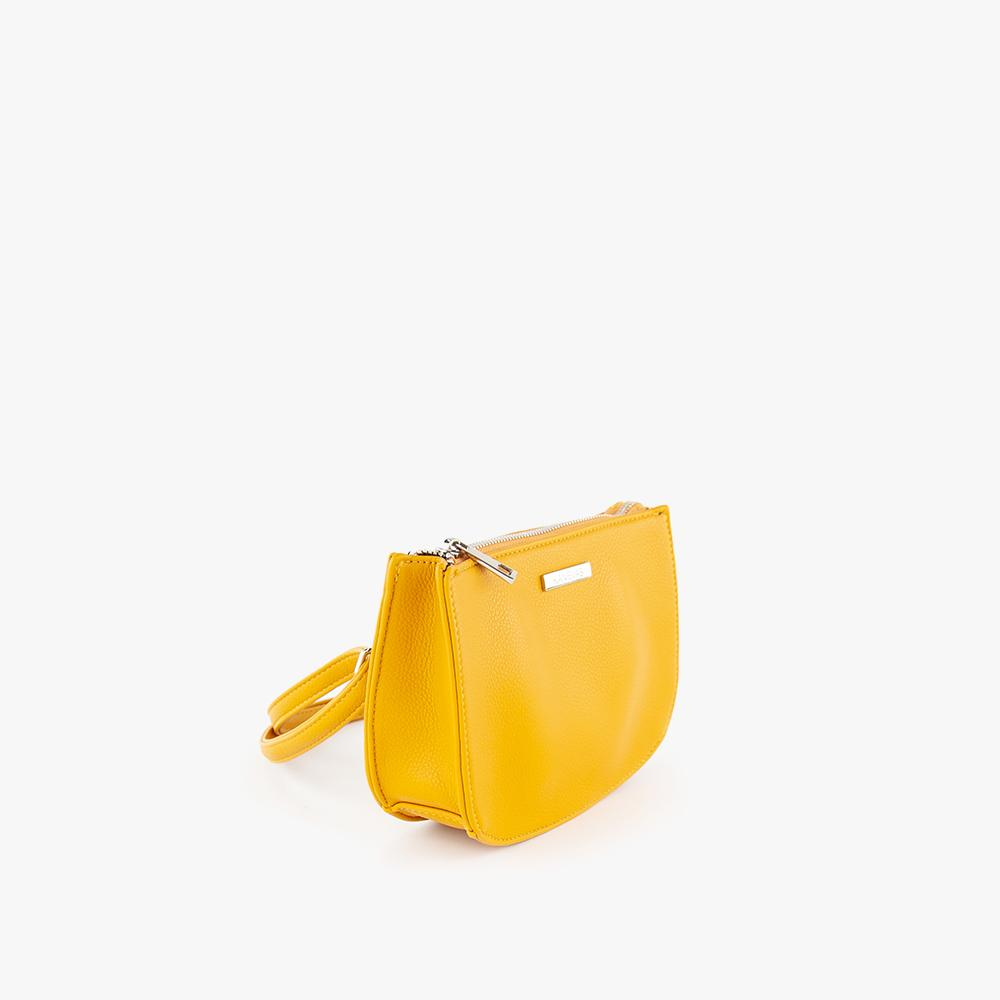 Jade convertible fanny pack from Kanevas, bag can be worn at the waist, crossbody, at the shoulder or at the wrist; dark yellow vegan leather