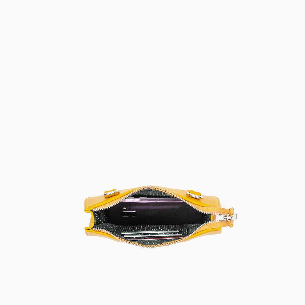 Jade convertible fanny pack from Kanevas, bag can be worn at the waist, crossbody, at the shoulder or at the wrist; dark yellow vegan leather; inside with 3 card pockets and one zippered pocket
