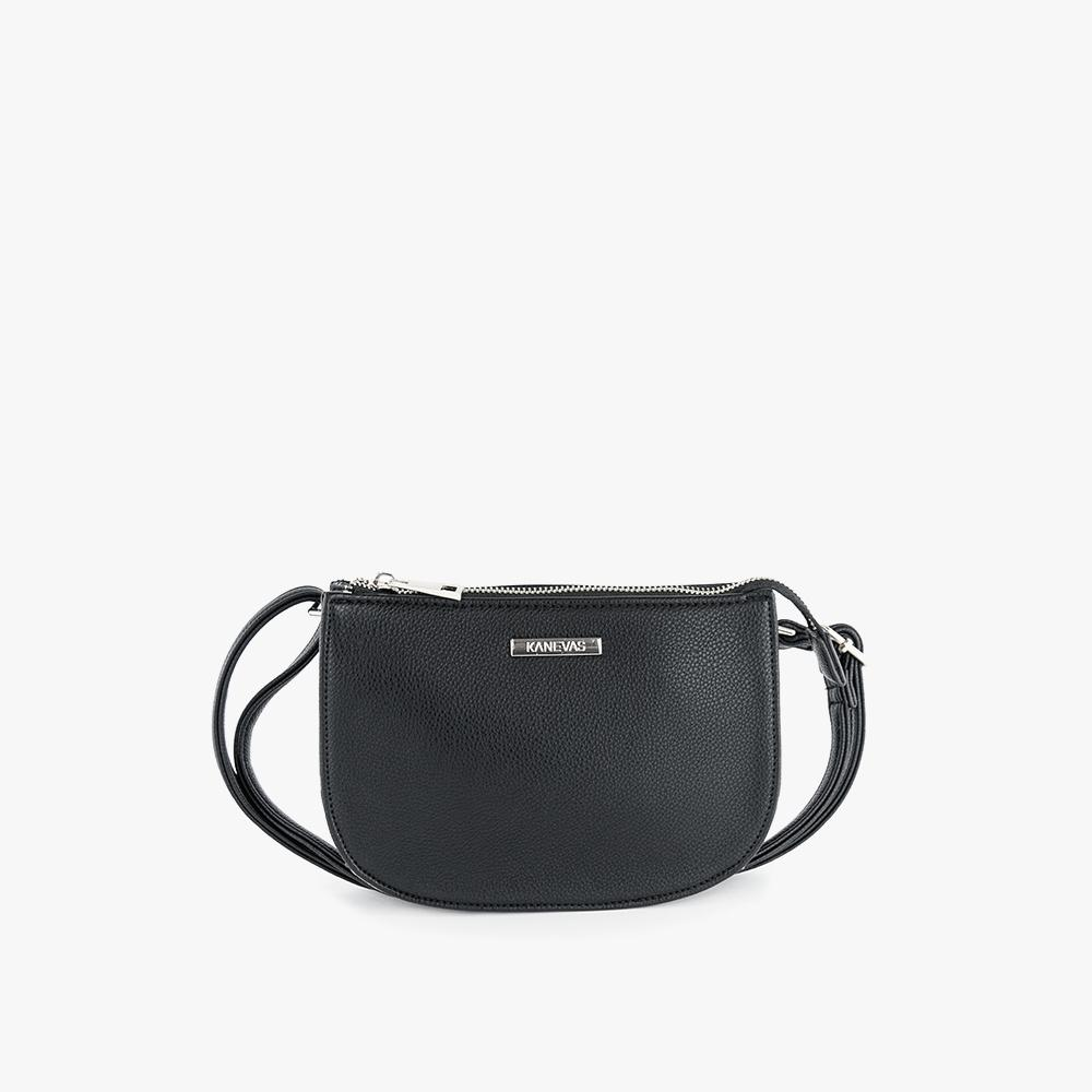 Jade convertible fanny pack from Kanevas, bag can be worn at the waist, crossbody, at the shoulder or at the wrist; black vegan leather