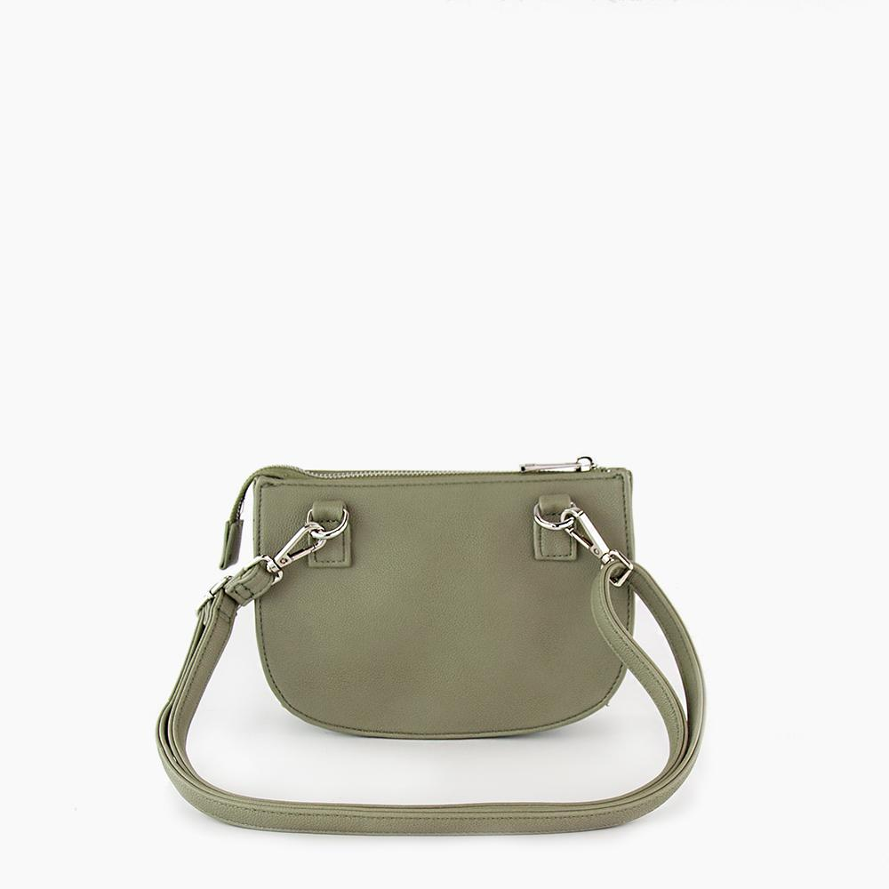Jade convertible fanny pack from Kanevas, bag can be worn at the waist, crossbody, at the shoulder or at the wrist; olive vegan leather