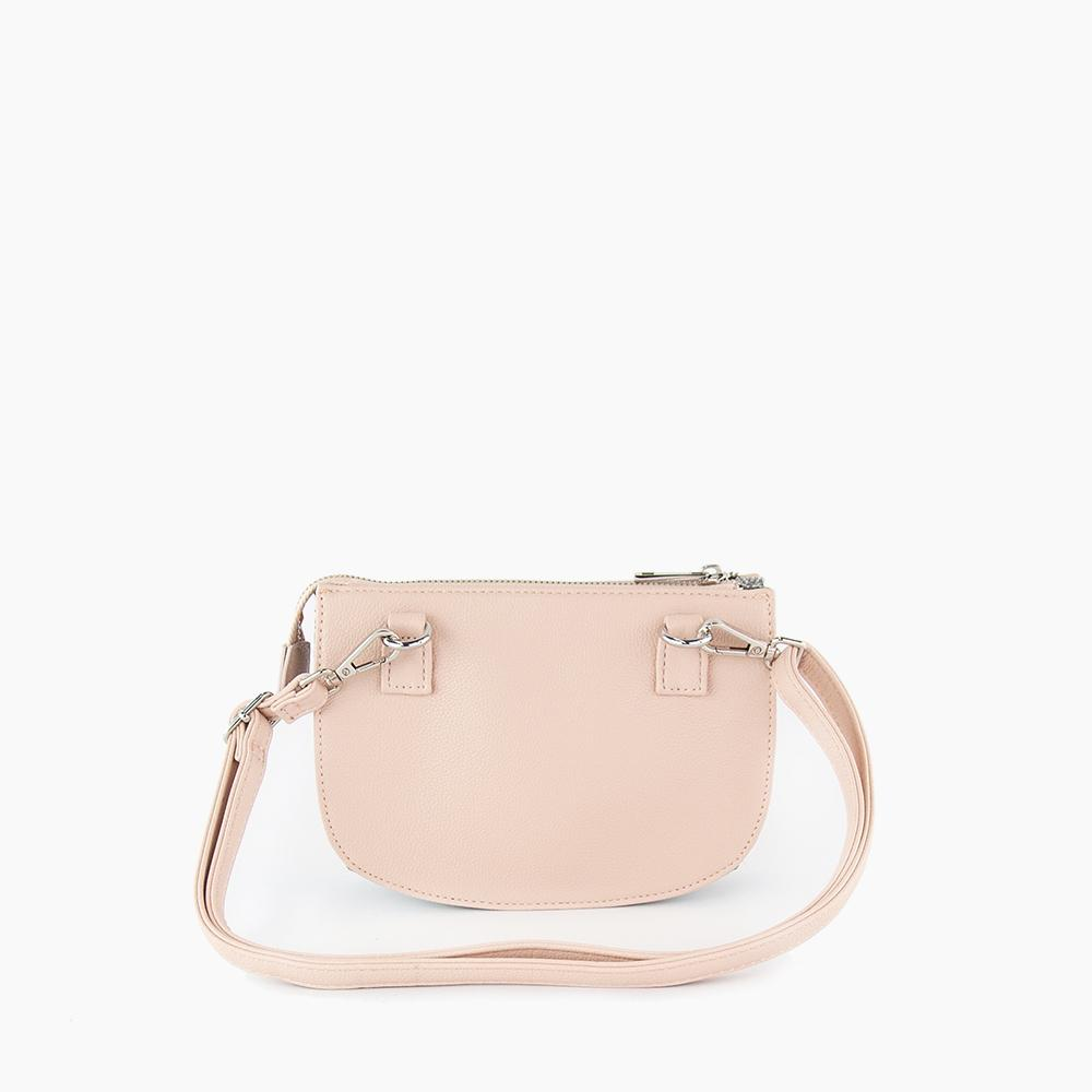 Jade convertible fanny pack from Kanevas, bag can be worn at the waist, crossbody, at the shoulder or at the wrist; light pink vegan leather and grey herringbones cotton