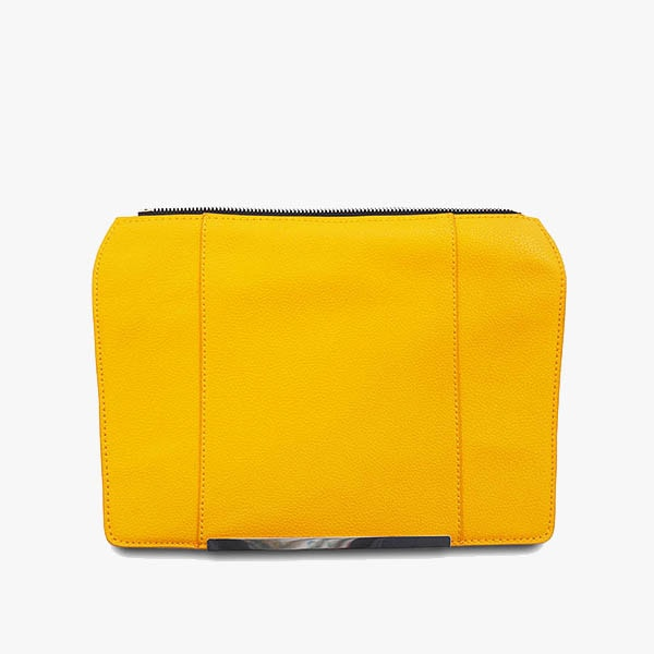 Yellow flap from Kanevas' flap bag collection; removable and interchangeable; dark yellow vegan leather