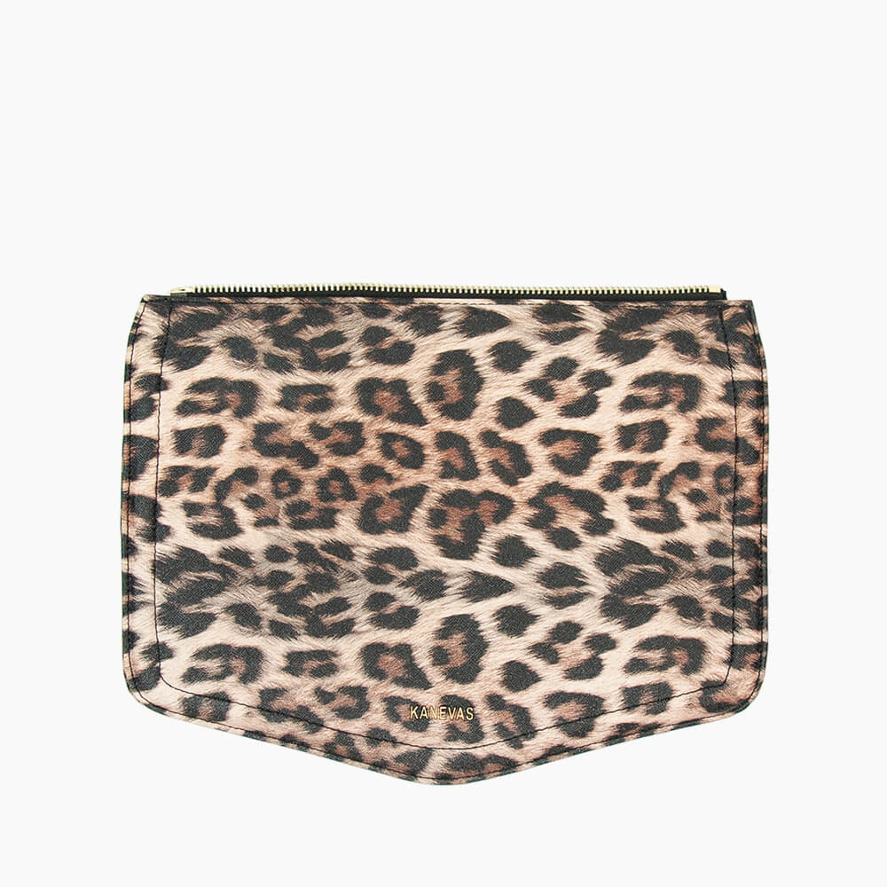 Leopard flap from Kanevas' flap bag collection; removable and interchangeable; leopard vegan leather