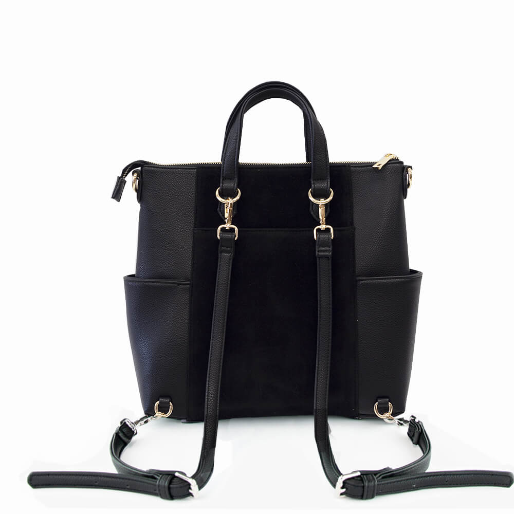 Convertible bag Emilie techno mini from Kanevas in black velvet ad black vegan leather