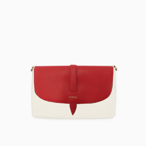 Red flap from Kanevas' flap bag collection; removable and interchangeable; red vegan leather; pocket in beige vegan leather