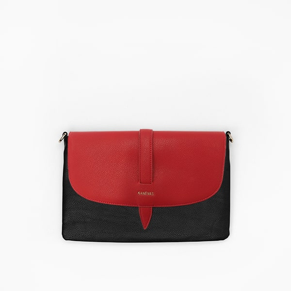 Red flap from Kanevas' flap bag collection; removable and interchangeable; red vegan leather; pocket in black vegan leather