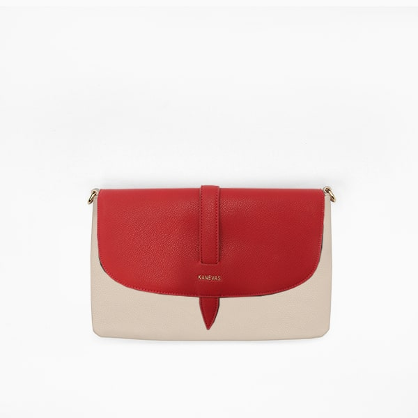 Red flap from Kanevas' flap bag collection; removable and interchangeable; red vegan leather; pocket in beige genuine leather