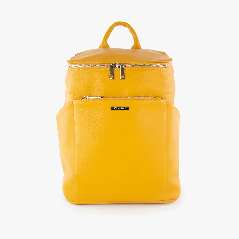 Stephanie techno midi backpack from Kanevas; in dark yellow vegan leather; with front zippered pocket