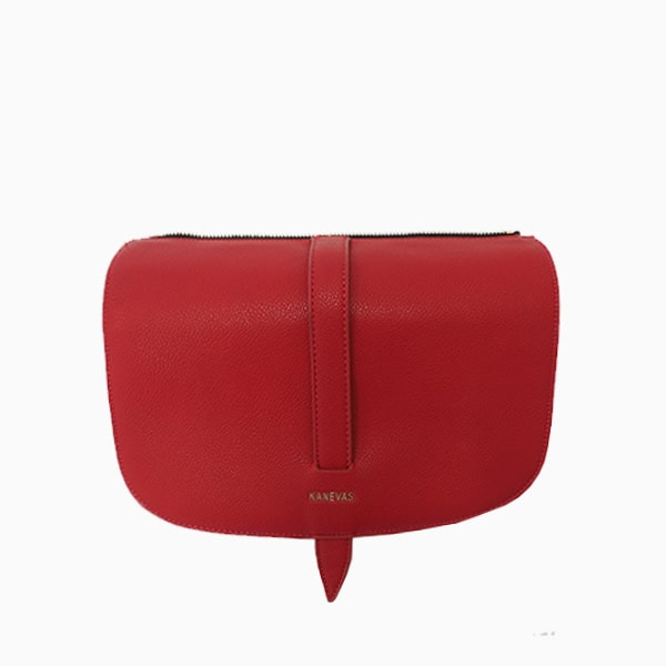 Red flap from Kanevas' flap bag collection; removable and interchangeable; red vegan leather