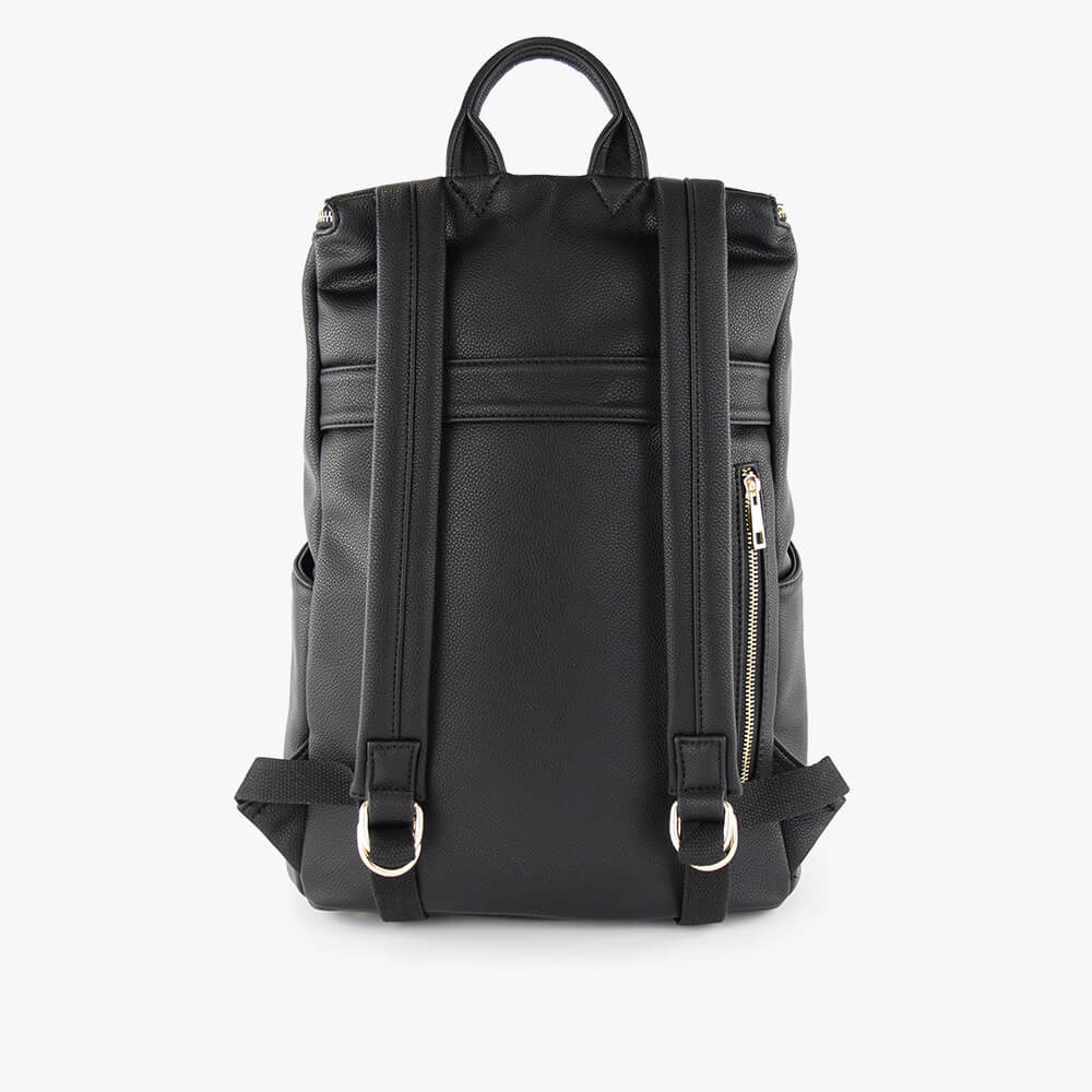 Stephanie mama ultra backpack from Kanevas; diaper bag in black vegan leather; with back luggage strap and zippered pocket
