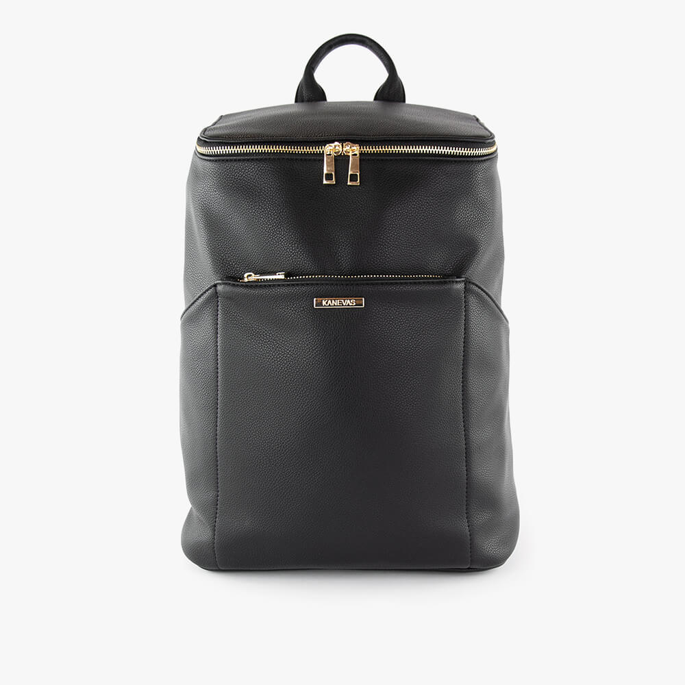 Stephanie mama ultra backpack from Kanevas; diaper bag in black vegan leather; with front zippered pocket