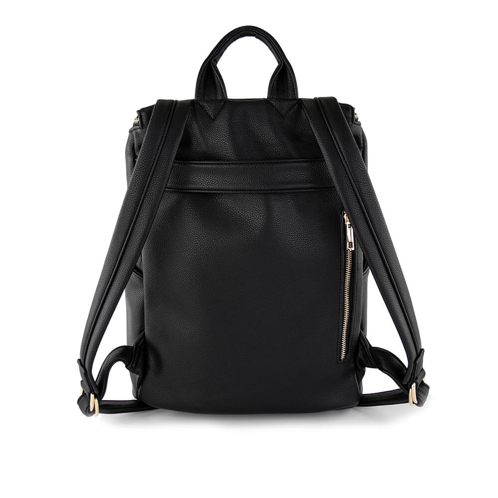 Stephanie techno midi backpack from Kanevas; in black vegan leather; with luggage strap and zippered pocket at back