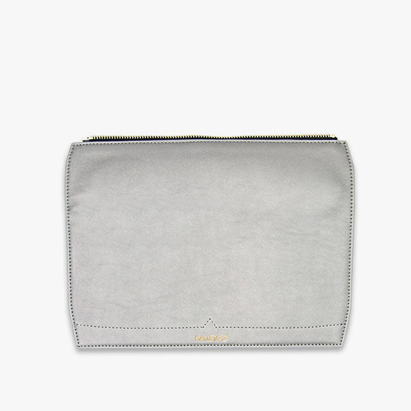 Metallic flap from Kanevas' flap bag collection; removable and interchangeable; silver vegan leather