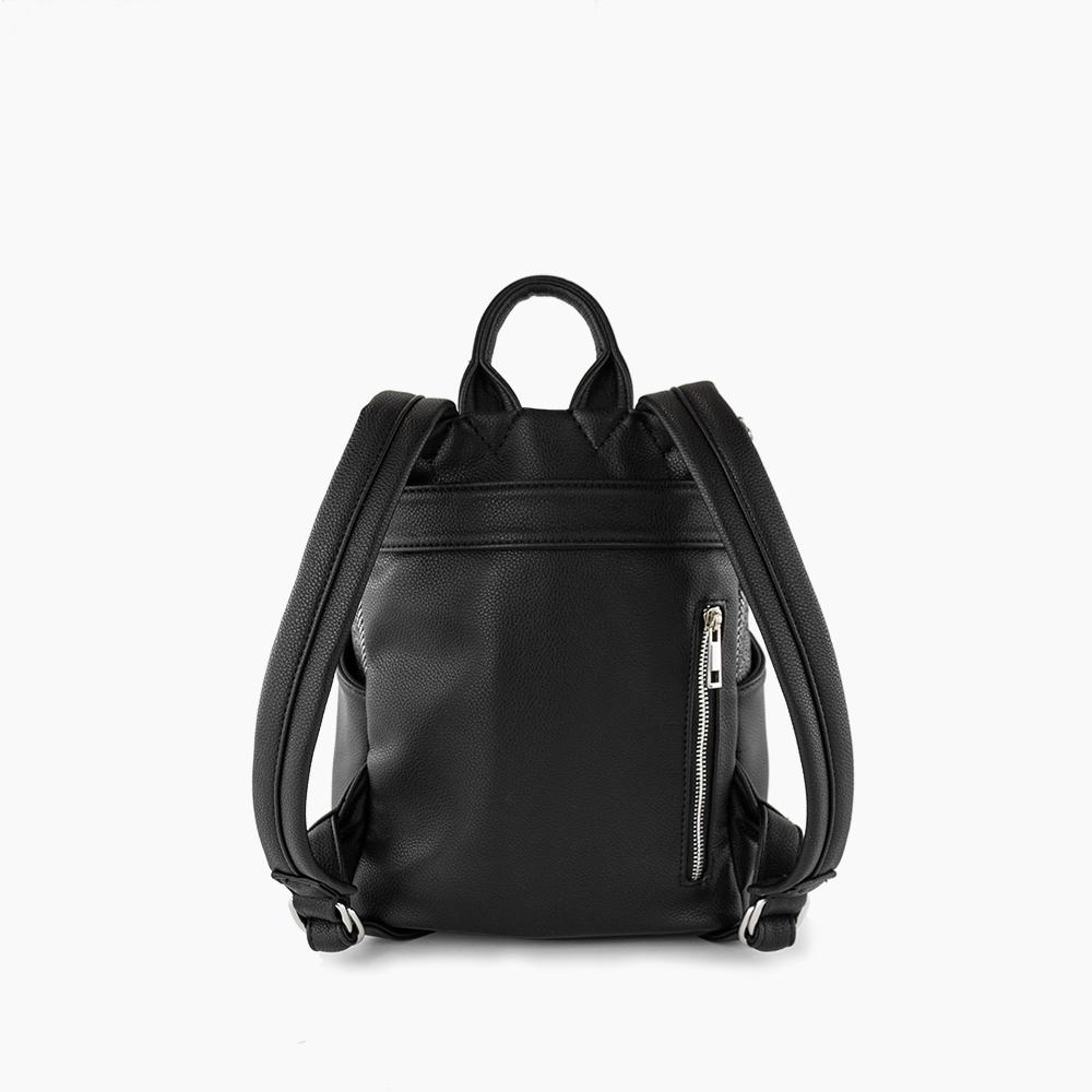 Stephanie mini backpack from Kanevas; zippered pocket and luggage strap at back; black vegan leather and black herringbones cotton