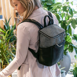 Stephanie mini backpack from Kanevas; zippered pocket at front; black vegan leather and black herringbones cotton