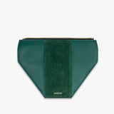 Green flap from Kanevas' flap bag collection; removable and interchangeable; green vegan leather and green suede