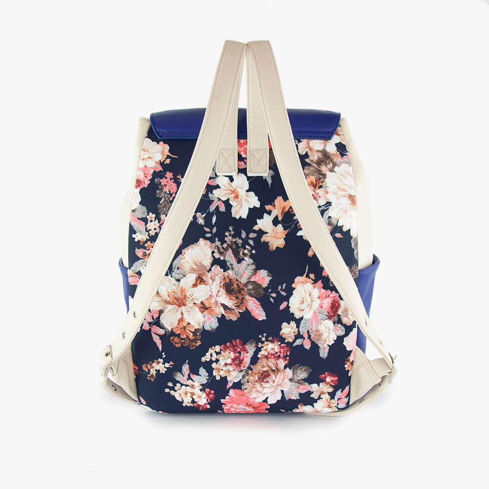 Thalia techno ultra backpack from Kanevas; royal blue and beige vegan leather and flowers cotton back pannel
