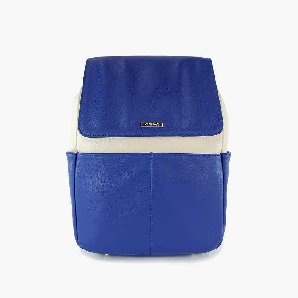 Thalia techno ultra backpack from Kanevas; royal blue and beige vegan leather