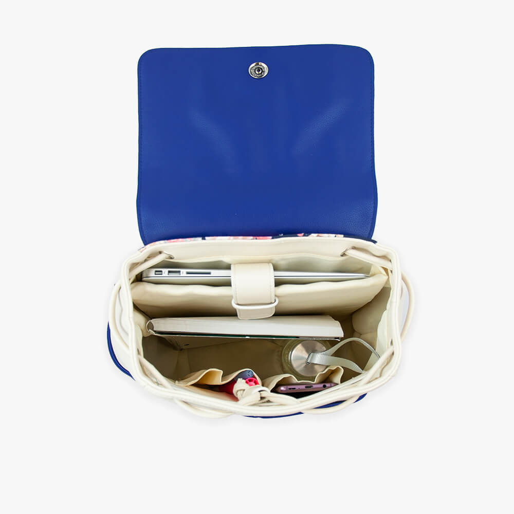 Thalia techno ultra backpack from Kanevas; royal blue and beige vegan leather; inside with laptop sleeve