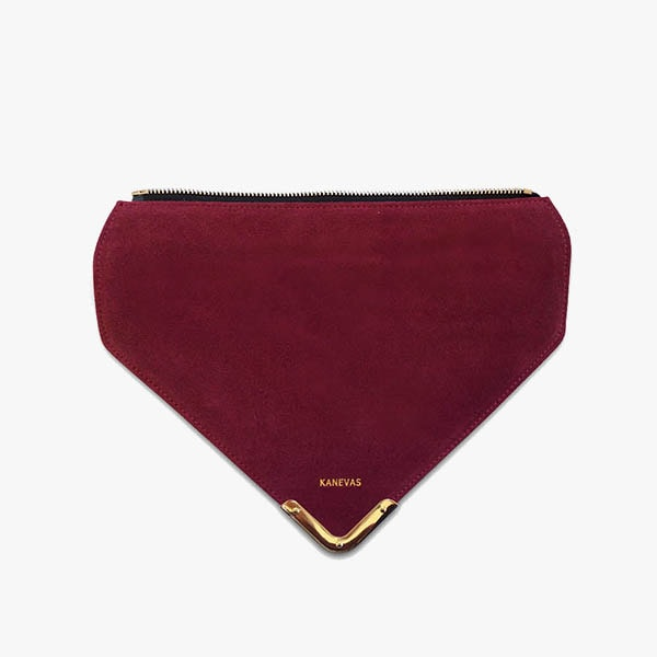 Red wine flap from Kanevas' flap bag collection; removable and interchangeable; red suede