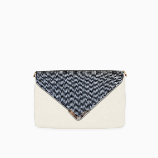 Grey herringbone flap from Kanevas' flap bag collection; removable and interchangeable; grey herringbones cotton; pocket in beige vegan leather