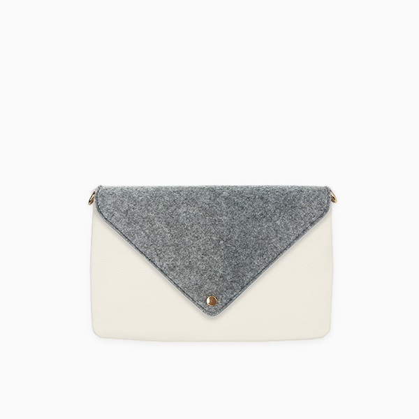 Kanevas felt flap on beige genuine leather clutch from removable and interchangeable bag collection
