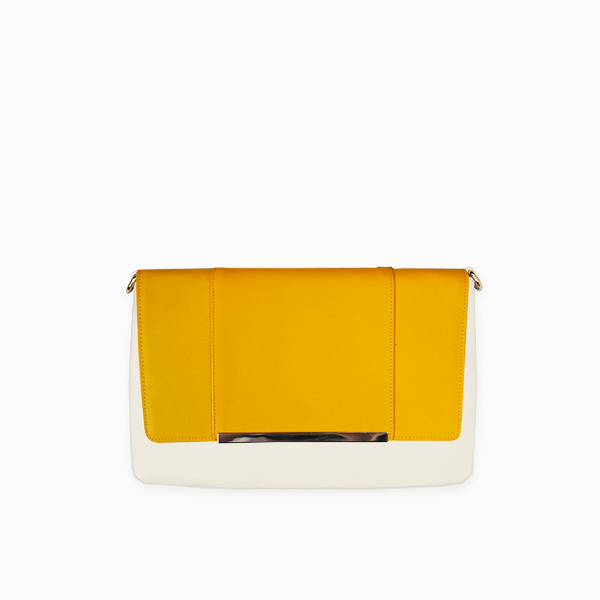 Yellow flap from Kanevas' flap bag collection; removable and interchangeable; dark yellow vegan leather; pocket in beige vegan leather