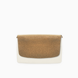 Cork flap from Kanevas' flap bag collection; removable and interchangeable; cork imitation; pocket in beige vegan leather