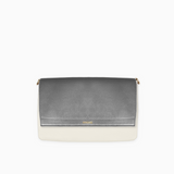 Metallic flap from Kanevas' flap bag collection; removable and interchangeable; silver vegan leather; pocket in beige vegan leather
