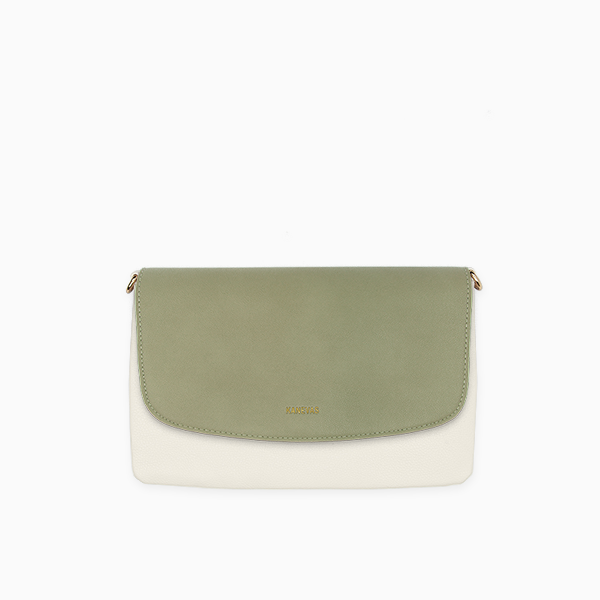 Kanevas olive flap with beige genuine leather clutch from removable and interchangeable flap bag collection