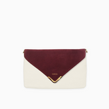 Red wine flap from Kanevas' flap bag collection; removable and interchangeable; red suede; pocket in beige vegan leather