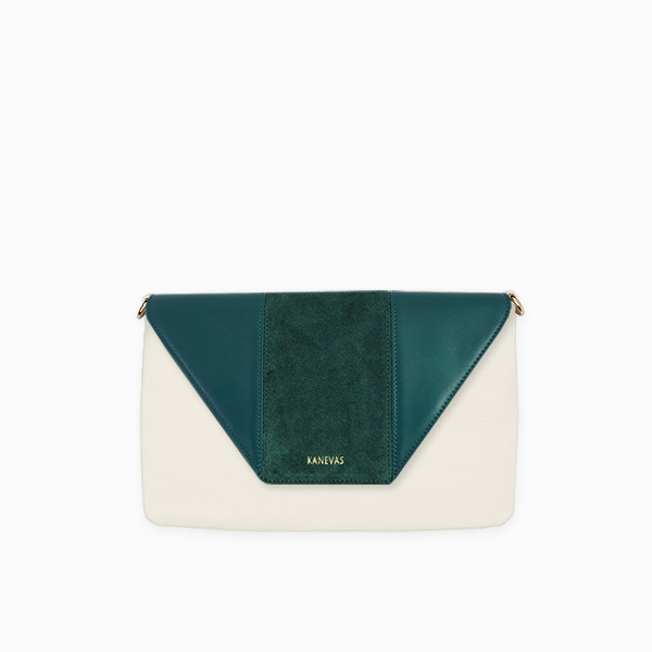 Green flap from Kanevas' flap bag collection; removable and interchangeable; green vegan leather and green suede; pocket in beige vegan leather