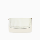 Braided flap from Kanevas' flap bag collection; removable and interchangeable; beige vegan leather; pocket in beige vegan leather