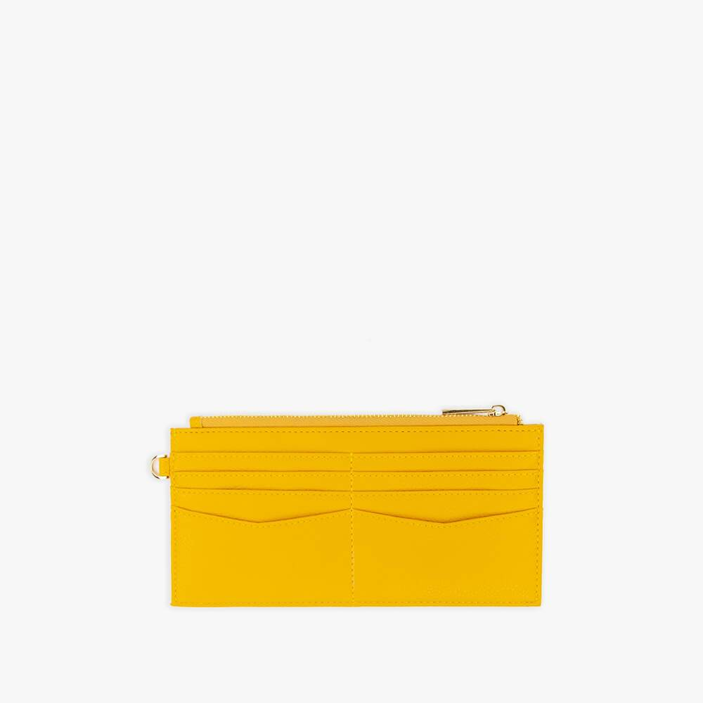 Yellow vegan leather wallet from Kanevas with pockets for cards