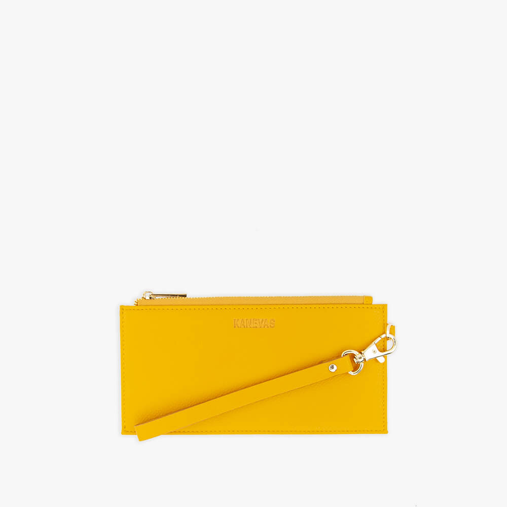 Yellow vegan leather wallet from Kanevas