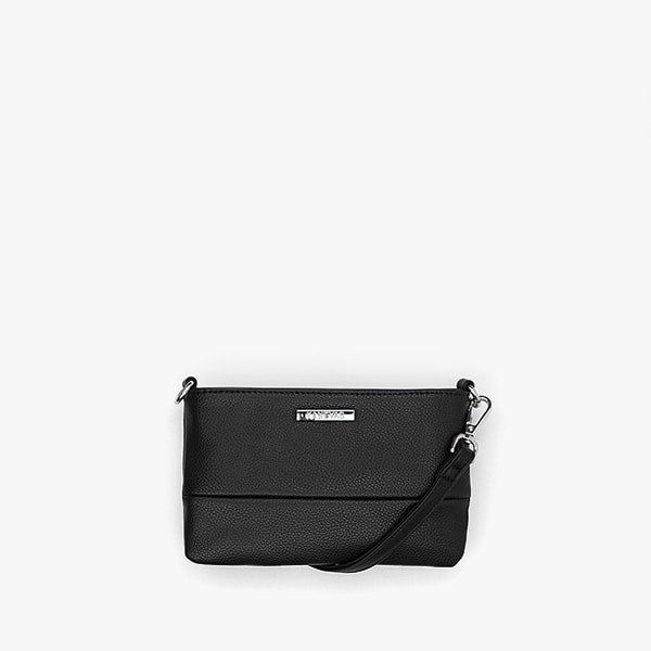 exterior black vegan leather, silver hardware