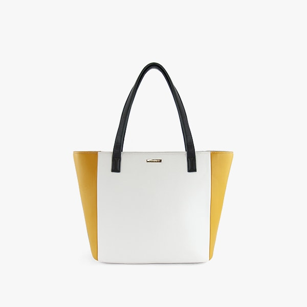 exterior yellow and white vegan leather, black handles, gold hardware