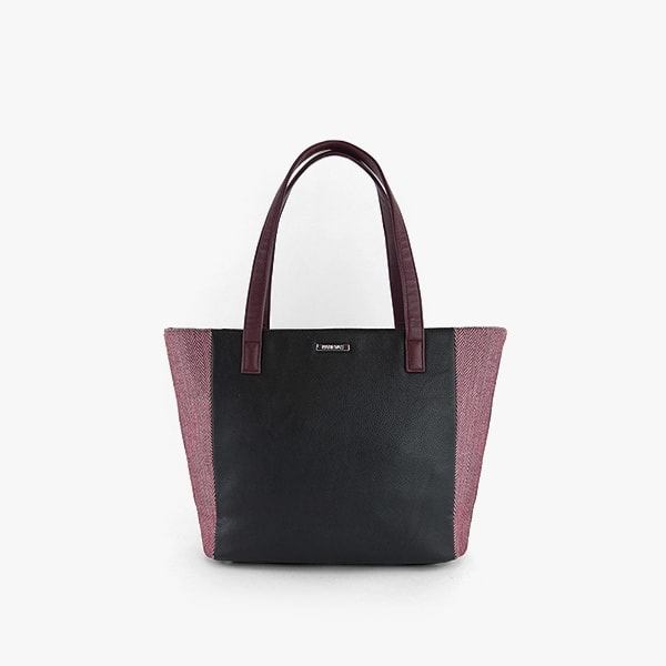 exterior red herringbone pattern cotton and black vegan leather, red wine handles, silver hardware