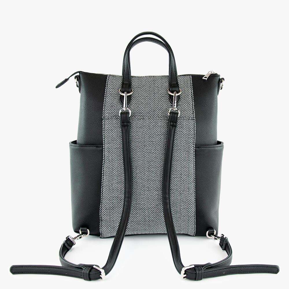 Emilie laptop convertible bag from Kanevas black vegan leather and herringbone cotton