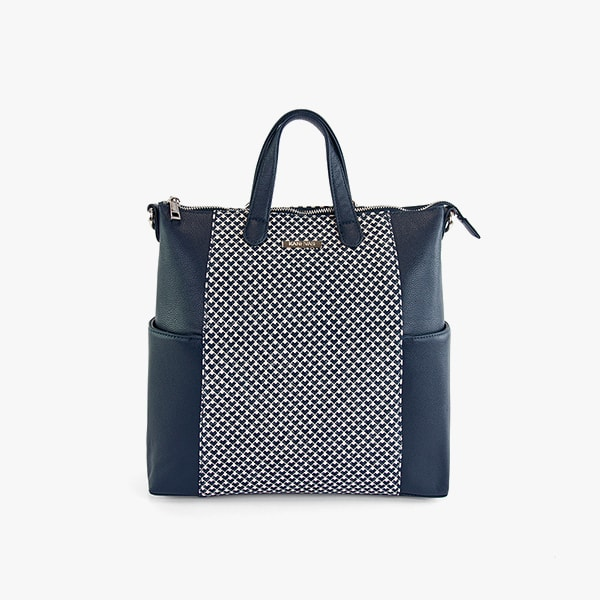 front exterior blue triangles pattern cotton and dark blue vegan leather, silver hardware