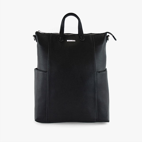front exterior black vegan leather, silver hardware